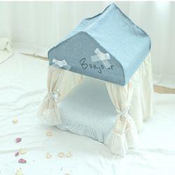 강아지 반려견 봉쥬르 레이스 커튼 하우스 침대 쿠션 방석 (M)