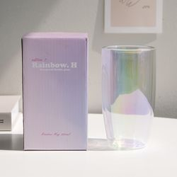 레인보우 홀로그램 텀블러 이중 유리컵