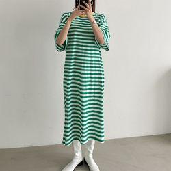 N Stripe Boxy Long Dress