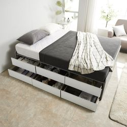 노뎀 높은 2단 전체서랍형 침대 퀸+7존독립 매트리스