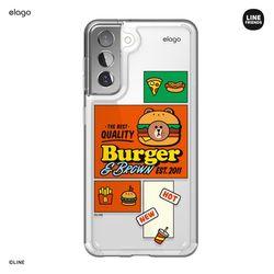 라인프렌즈 버거타임 갤럭시S21 케이스-브라운