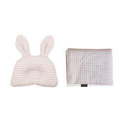 꿈두부 패턴디자인 아기 토끼베개 극세사블랭킷 2종세트