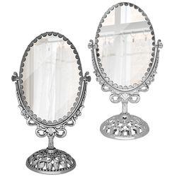 협탁 탁상용 인테리어 소품 양면 월계수 타원 거울 중형