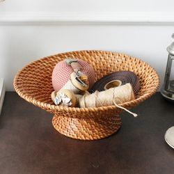 라탄 다리원형 바구니 소
