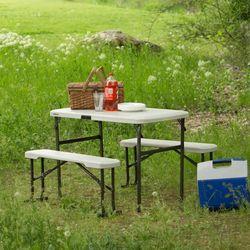 라이프타임 접이식 야외 테이블 의자 세트 T80352  캠핑 베란다