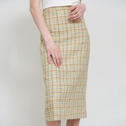 LINEN JUICY CHECK SKIRT(LIME)