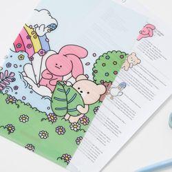 핑크와벤 3단 포켓 인덱스 홀더 파일