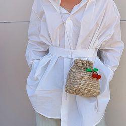 피에브 여름 복조리 체리 미니 라탄가방 숄더백