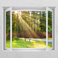 td478-햇살받는벤치창문그림액자