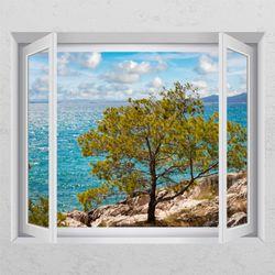 tj164-맑은바다와소나무창문그림액자