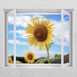 tj165-맑은날해바라기꽃창문그림액자