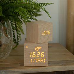 LED 멀티 시계 우드큐브 (무소음)