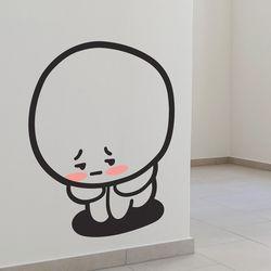 귀여운 구석탱이 쭈구리 캐릭터 인테리어 스티커 large