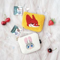 (정품)토끼여우 뽀글이 사각 미니 파우치 동전지갑-JA