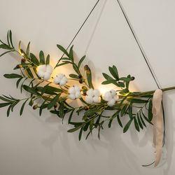 LED 올리브목화갈란드 70cmP 조화 꽃 인테리어 FMWGFT
