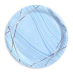 감성 파티접시 18cm (10개입) 마블블루