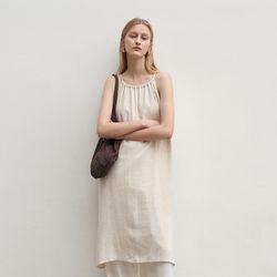 NATURAL HALTER DRESS BEIGE