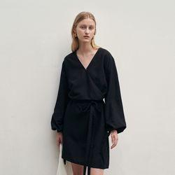 BELT MINI WRAP DRESS BLACK