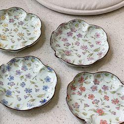 일본 그릇 도자기 아리타 400주년 리프플라워 나뭇잎접시 5p세트