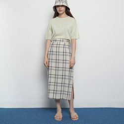 W327 check long skirts beige