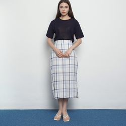 W327 check long skirts ivory