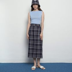 W327 check long skirts navy