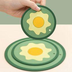 커피잔 수저 컵 냄비 받침대 계란 원형코스터 3개