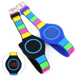 컬러 실리콘 LED 전자 손목 시계 생활 방수 패션 워치