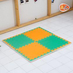 홈트 그린 오렌지 양면퍼즐매트 22T 50x50 4P
