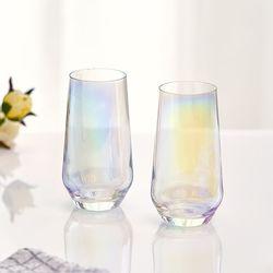 아크프랑스 홀로그램 오로라 줄리 420ml 2P 홈카페유리컵