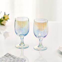 아크프랑스 홀로그램 오로라 고블렛잔 330ml 2P 홈카페유리컵