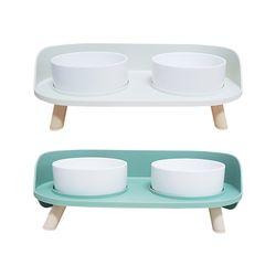 더블 식탁 세라믹 반려동물 밥그릇 물그릇