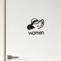 모자쓴 남자 여자 men women 화장실 탈의실 다용도 도어스티커