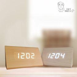 LED 트라이 우드 탁상시계 알람시계 LED시계 무소음