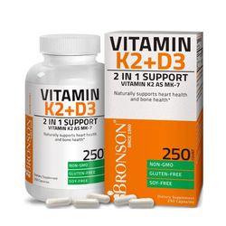 Bronson 브론슨 비타민 K2 + 비타민 D3 250캡슐
