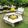 거실 야외 캠핑 다용도 원목 육각 테이블