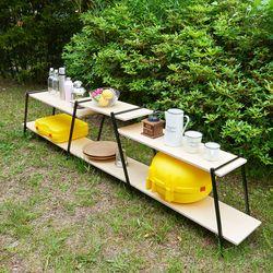 거실 야외 캠핑 다용도 철제 원목 수납 선반 기본형 2단