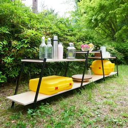 거실 야외 캠핑 다용도 철제 원목 수납 선반 확장형 와이드 2단