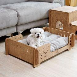 강아지 원목 침대 방석포함