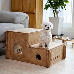 강아지 원목 수납 계단 하우스