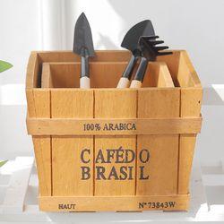 정사각 나무 높은 수납 박스 2종세트(원목화분)