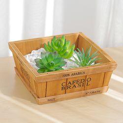 정사각 나무 수납 박스(원목화분)