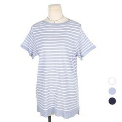 [네오쿠비카]빅사이즈 니트 줄무늬 반팔티셔츠 A180