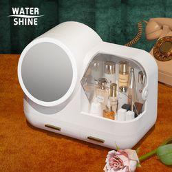 워터샤인 LED 무드등 팬선풍기 멀티 화장품 보관함 화이트
