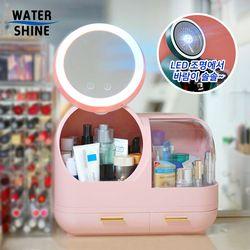 워터샤인 LED 무드등 팬선풍기 멀티 화장품 보관함 핑크