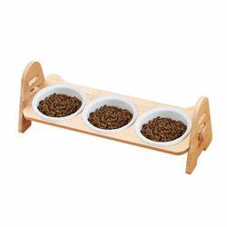 CONTAIL 우드식탁 3구 강아지 고양이 식기 사료그릇
