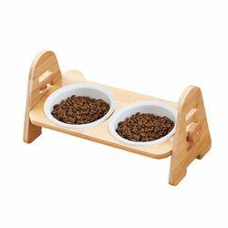CONTAIL 우드식탁 2구 강아지 고양이 식기 사료그릇