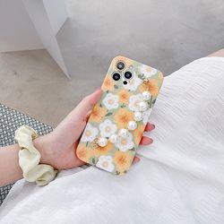 펄그립 오렌지플라워 올리브 아이폰 실리콘 유화 케이스