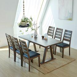 카이 루디 고무나무원목 6인용 식탁세트