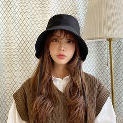 모자 끈달린 버킷햇 여성 넓은챙 벙거지